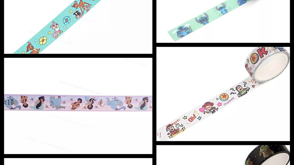 Various washi tapes approx 15mm x 5 meter rolls