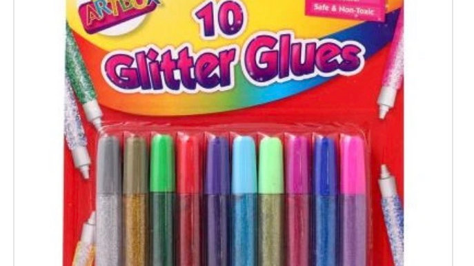 Pack of 10 glitter glue pens assorted colours