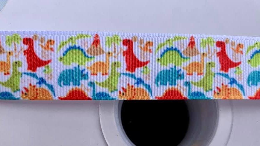 Dinosaurs 22mm grosgrain ribbon per meter