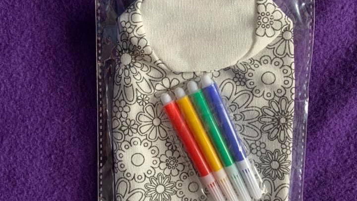 Colour your own pencil case with pens 2 designs