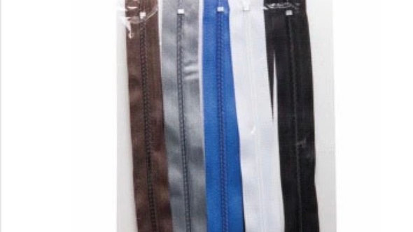 Pack of 6 sewing box zips assorted colours