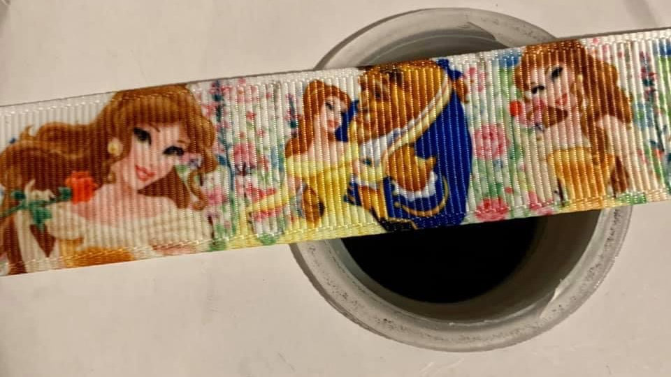 Beauty & the beast grosgrain ribbon per meter