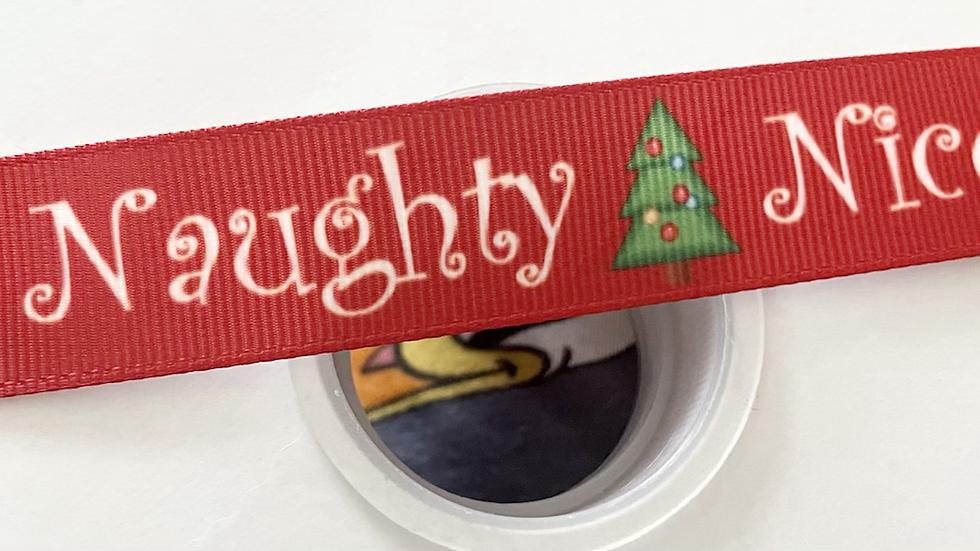 Naughty/nice Christmas 22mm grosgrain ribbon per meter