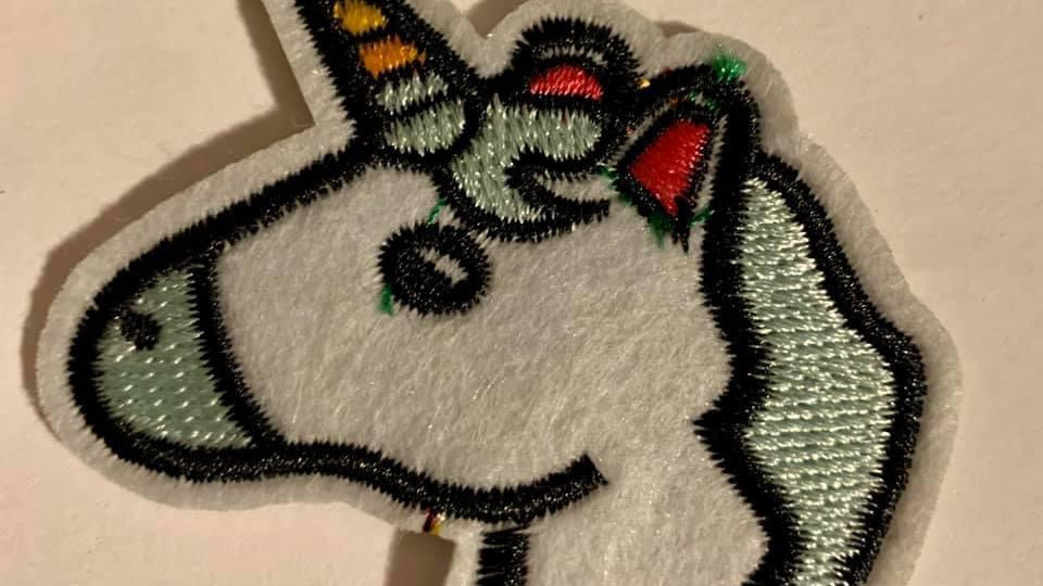 Unicorn embroidered patch iron or sew on