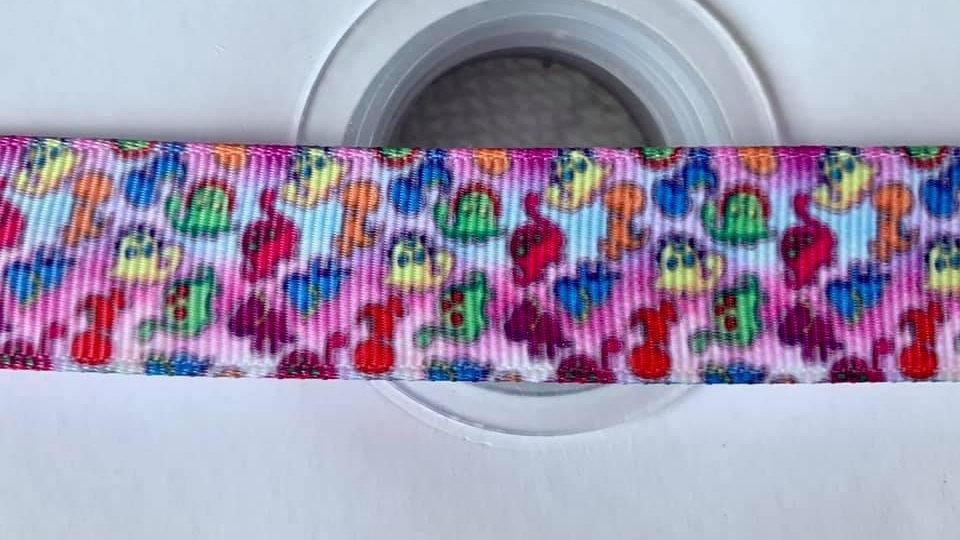 Pink dino 22mm grosgrain ribbon per meter