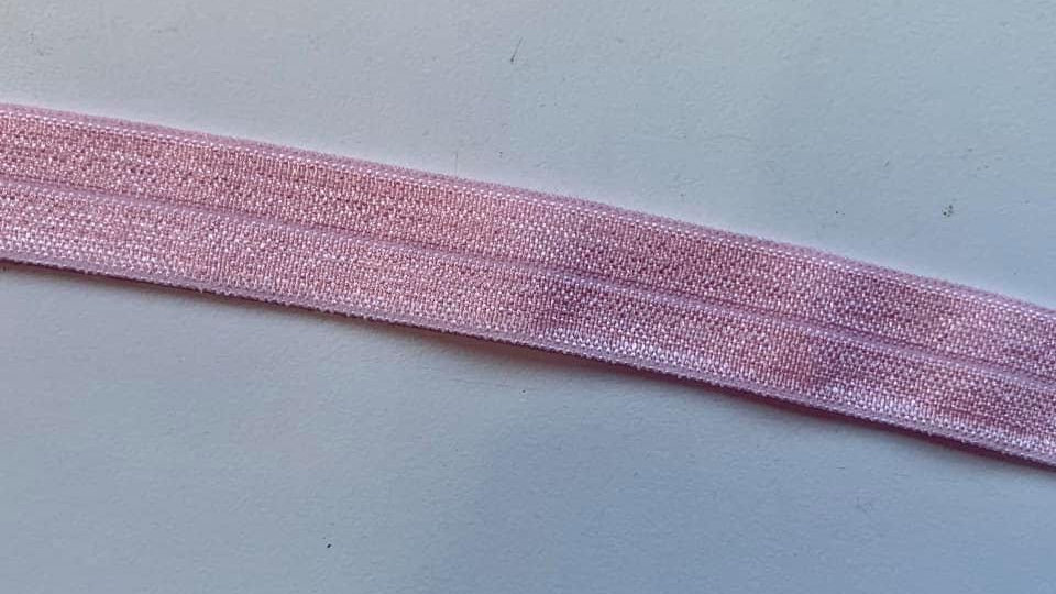 Plain coloured fold over elastic ribbon 16mm in blue, pink ect