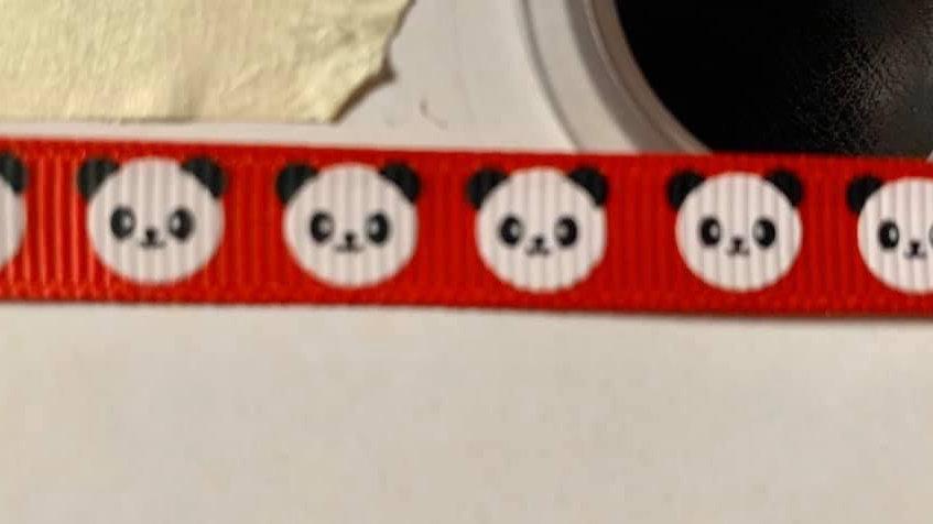 Red panda 9mm grosgrain ribbon per meter