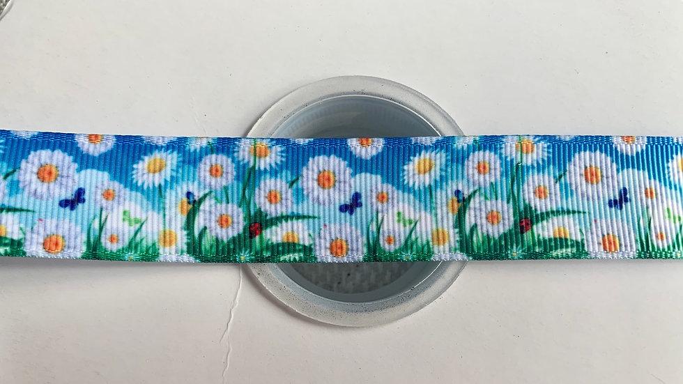 Daisy flowers 22mm grosgrain ribbon per meter