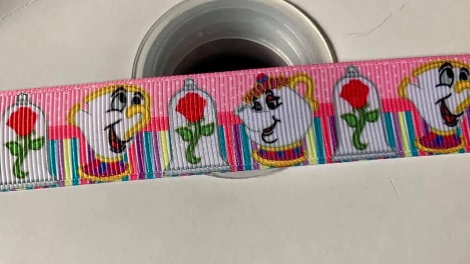 Mrs Potts and chip grosgrain ribbon 22mm per meter