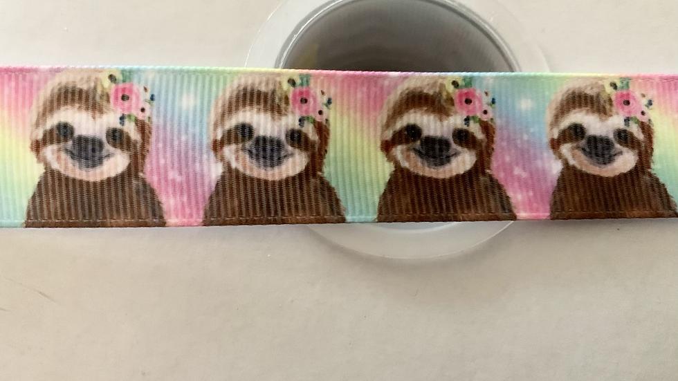 Sloth 22mm grosgrain ribbon per meter