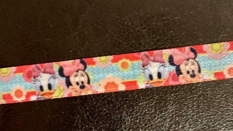 Minnie & daisy fold over elastic ribbon per meter 16mm