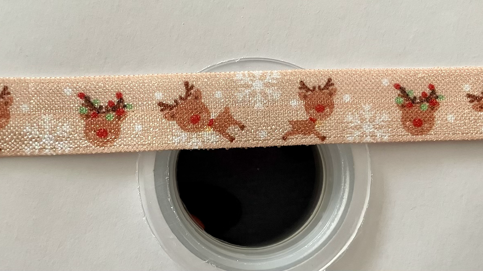 Christmas themed reindeer 16mm fold over elastic ribbon