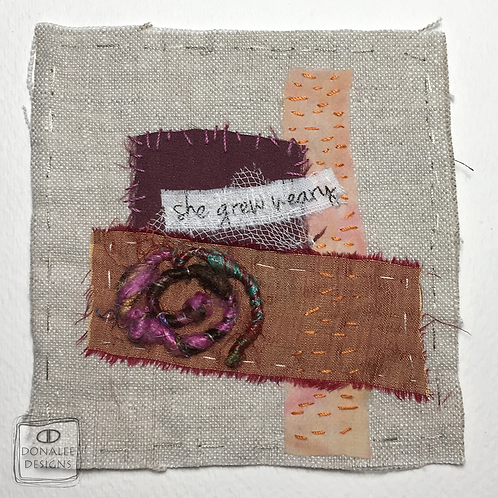 """27-19 Mixed Media Squares 4"""" titled: She Grew Weary"""