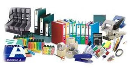 Statioery supplies, paper, tape, boxes, folders