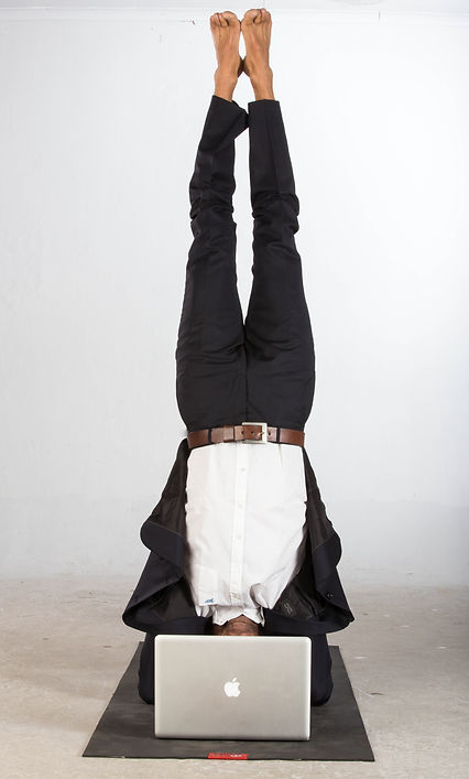 corporate yoga programs, Johannesburg, yoga works, headstand, upside down