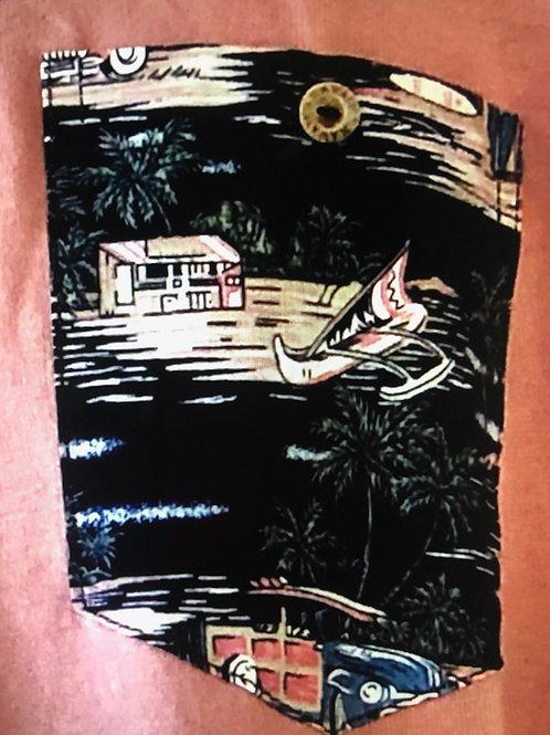 Surf Hut Navy Pocket, Pink T-Shirt
