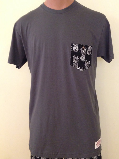 Pineapple Black Pocket, Gray T-Shirt