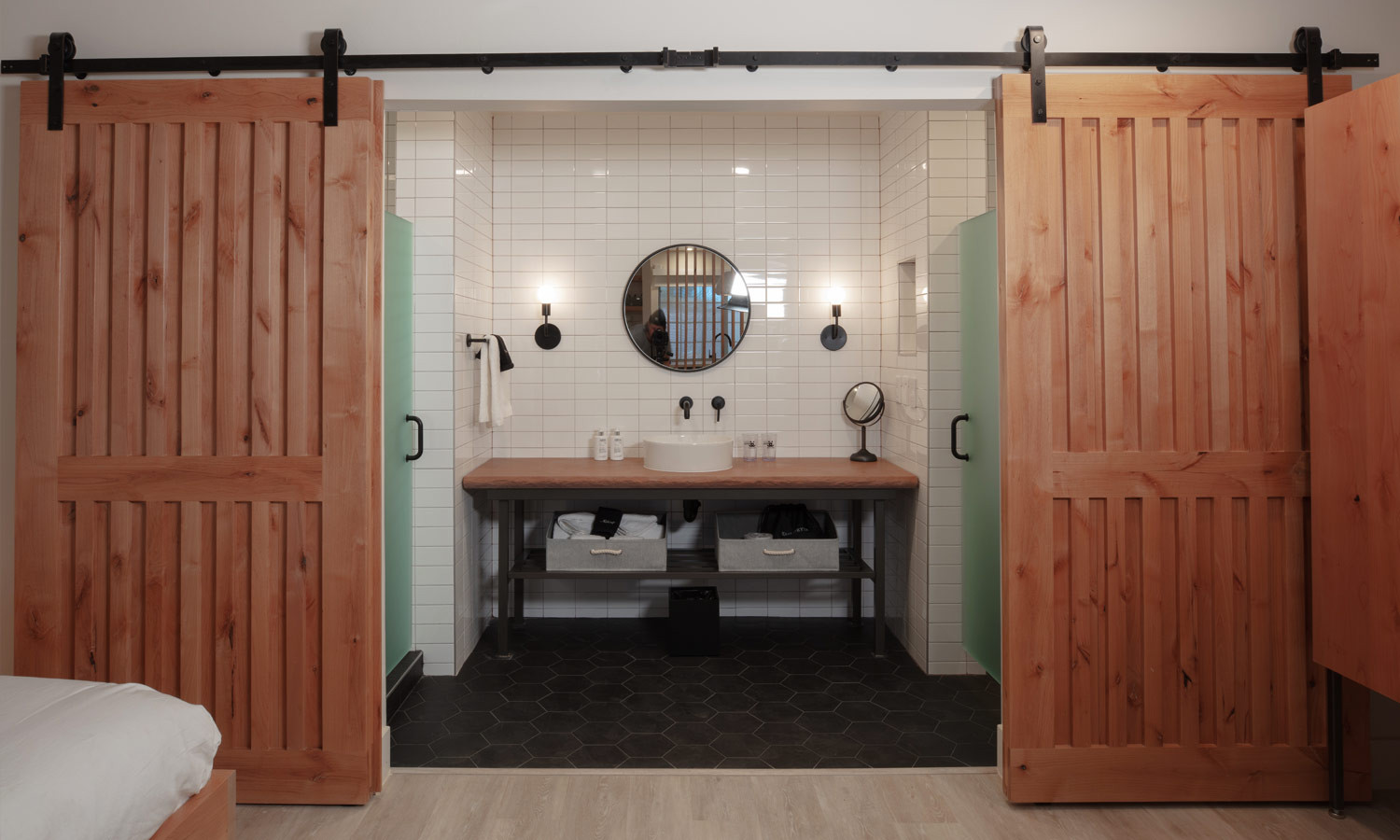 Standard Room: Standard bathroom with sliding barn doors for privacy