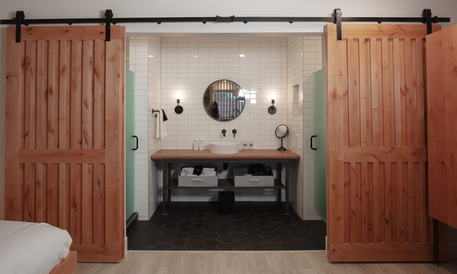 Standard Room: Standard bathroom with sliding barn doors for privacy