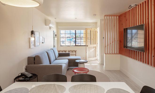 Two Floor Suite: Looking back toward secure double door entry