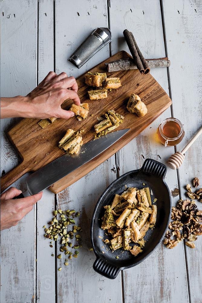 Honey Pistachio Baklava Sundae Prep