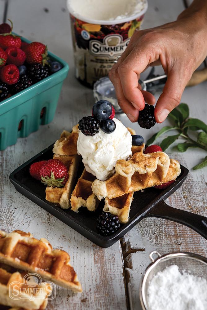 Summer Berry Waffles Adding Berries