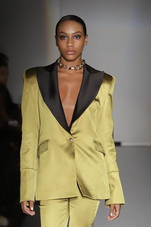 Olive Green Silk Satin Suit