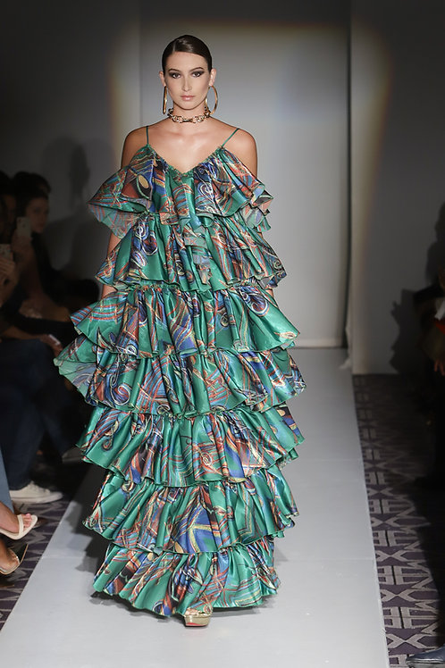 Ruffled Green Music Note Maxi Dress
