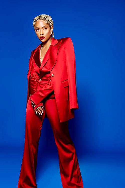 Royal Red Jumpsuit Plus Vest