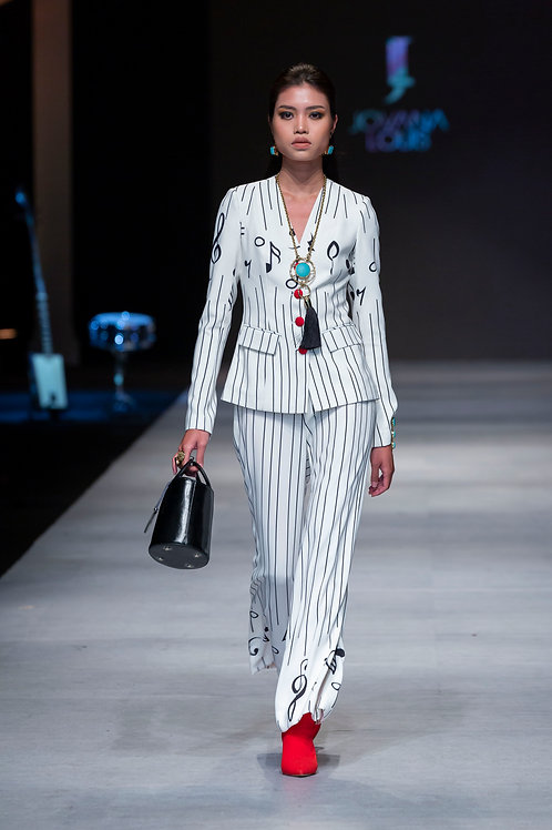 Musical Note Print Suit