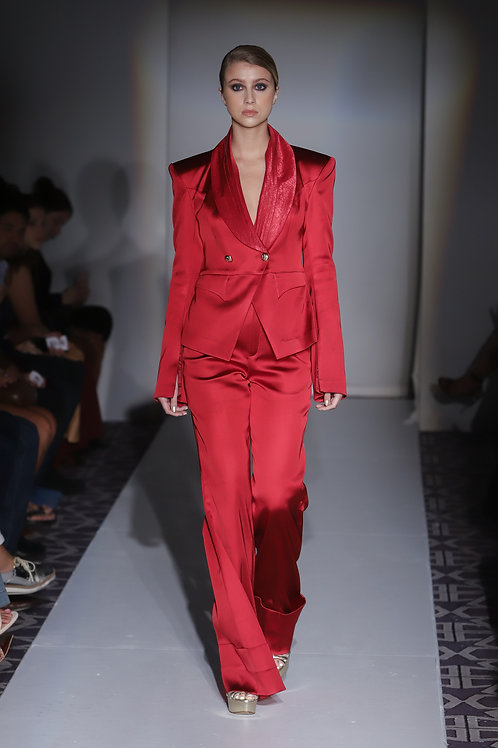 Royal Red Double Buttoned Silk Suit