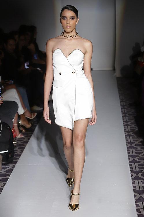 WHITE STRAPLESS SHORT COCKTAIL DRESS