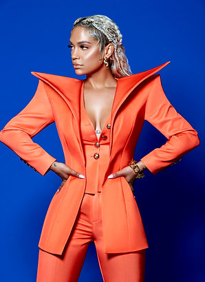THREE PIECE ORANGE STRONG SHOULDER SUIT SET