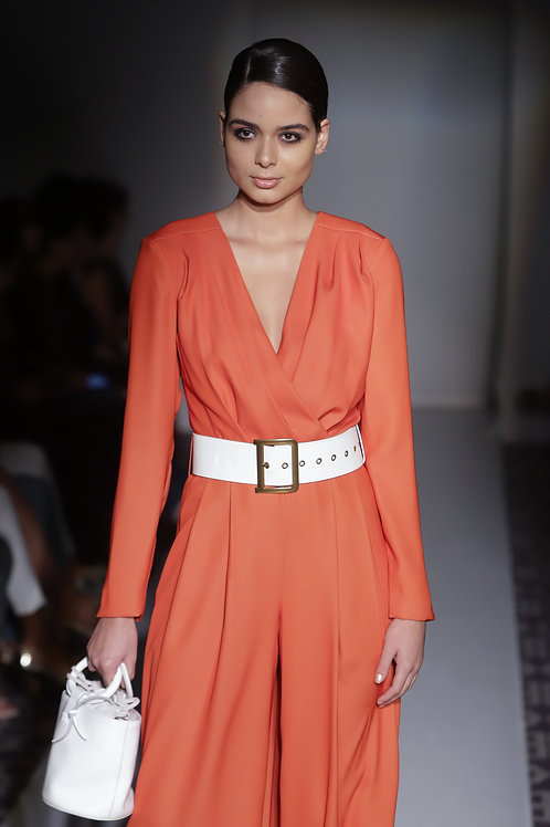 ORANGE LOW-NECK JUMPSUIT
