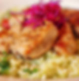 Appetizing veal with boiled rice topped with grated beetroot