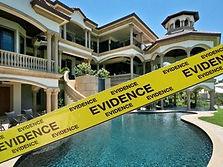 crime scene tape in front of manson