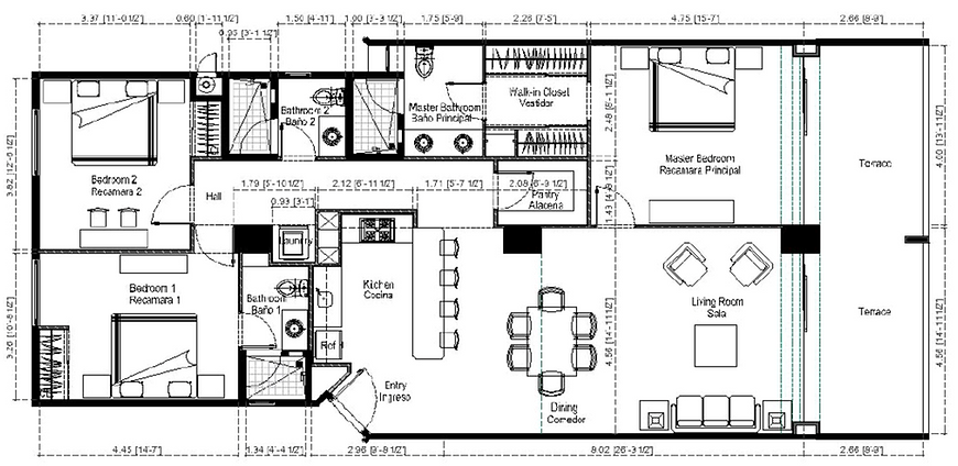 Azul beachfront condo floor plan