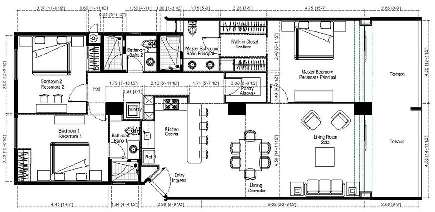 Azul beachfront condo floor plan
