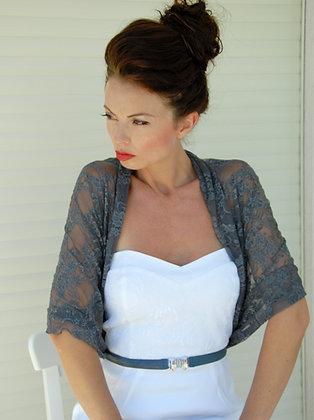 Grey lace shawl, classic lace
