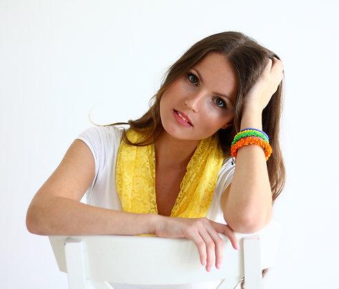 Yellow lace shawl/ scarf, classic lace