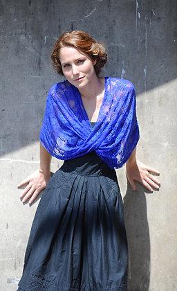 Royal blue shawl, classic lace