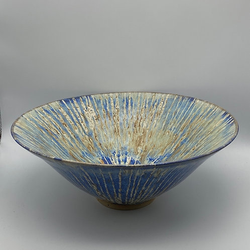 Large capri blue stripe bowl