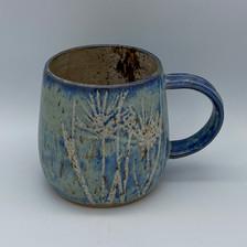 Capri blue grass & flowers mug
