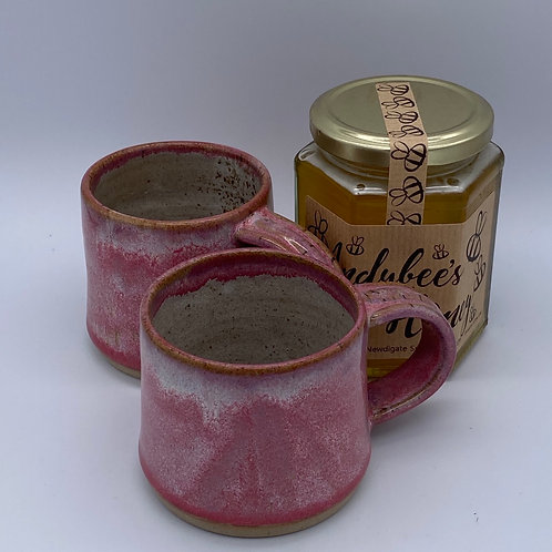 Pair of pink espresso coffee mugs and honey gift set 2