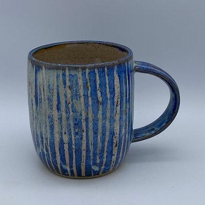 Capri blue stripy mug