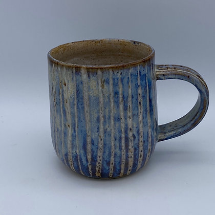 Denim blue stripy mug
