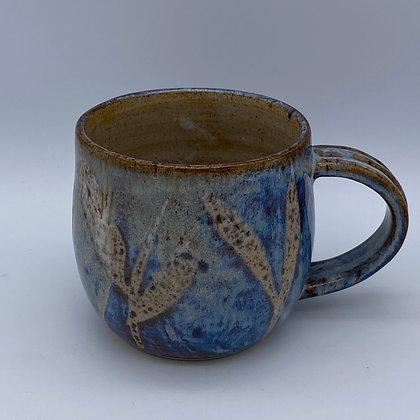 Denim blue leaf mug