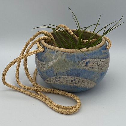 Denim blue round hanging planter