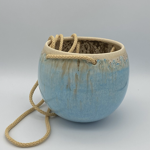 Large norse blue drip round hanging planter
