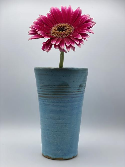 Blue ridged vase